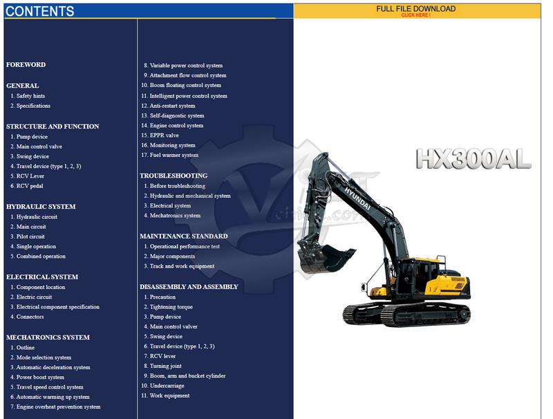 Hyundai CERES Heavy Equipment Service Manual Offline